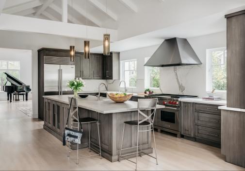 Los Gatos Minimalist; inset cabinetry; custom soft pewter-toned finish with glaze.